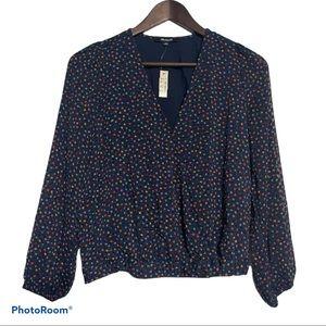 Madewell Navy Blue Polka Dot Print Blouse Size XS